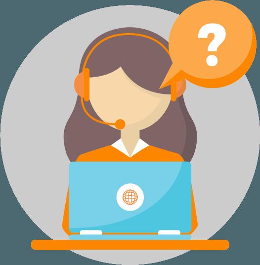 Mulher com um fone de ouvido conversando com um cliente.